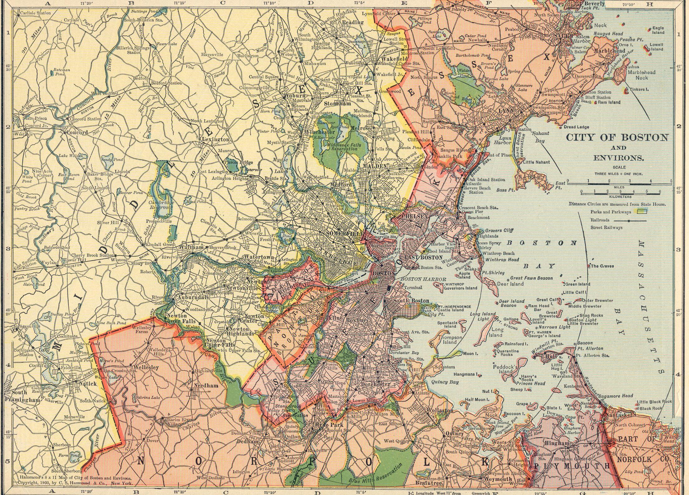 US Urban Regions From Hammonds Atlas LegalTowns - Boston on us map