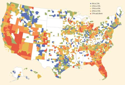 Underwater Mortgages as a Share of All Mortgages, by County, 4Q 2012. Source: CoreLogic Negative Equity Report, via Federal Reserve Bank of New York.