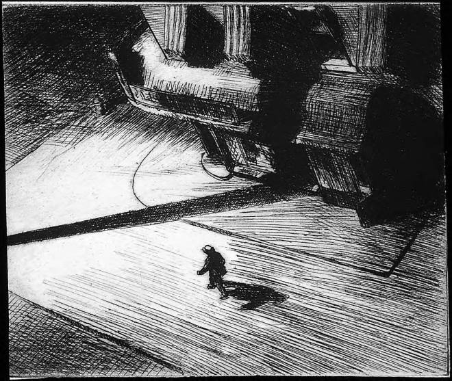 Night Shadows. Edward Hopper (1921).