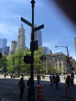 The Woolworth Building beyond the intersection of Centre and Chambers Streets