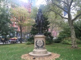 A statue of Nathan Hale, on the front lawn. There is no visual record of Hale.
